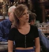 shirt,crop tops,black,rachel green,cute,lovely,sexy,jennifer aniston,friends TV show