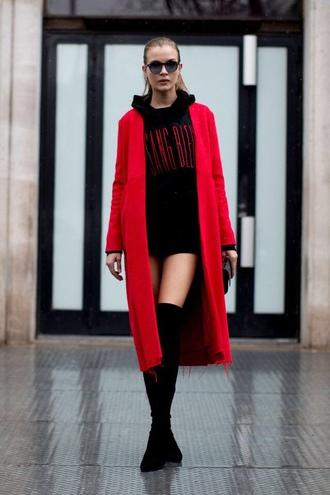 sweater sweater dress sweatshirt hoodie oversized josephine skriver model off-duty streetstyle paris fashion week 2017 fashion week 2017 coat