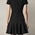 Black Deep V-neck Short Sleeve Flare Mini Dress - Sheinside.com