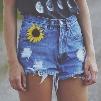 shorts demin sun flower yellow