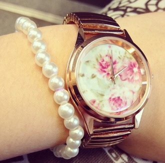 jewels watch flowers floral print