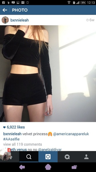 top velvet black velvet crop tops grunge shorts mini shorts