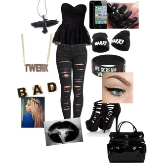 jeans badass bad bitches link up badgirl crop top bad gal rihanna rihanna avril lavigne black