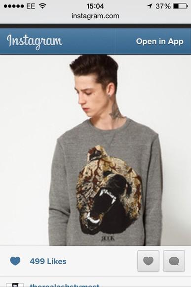 animal print romper ash stymest model jumper sweater tattoo male animal menswear mens sweater