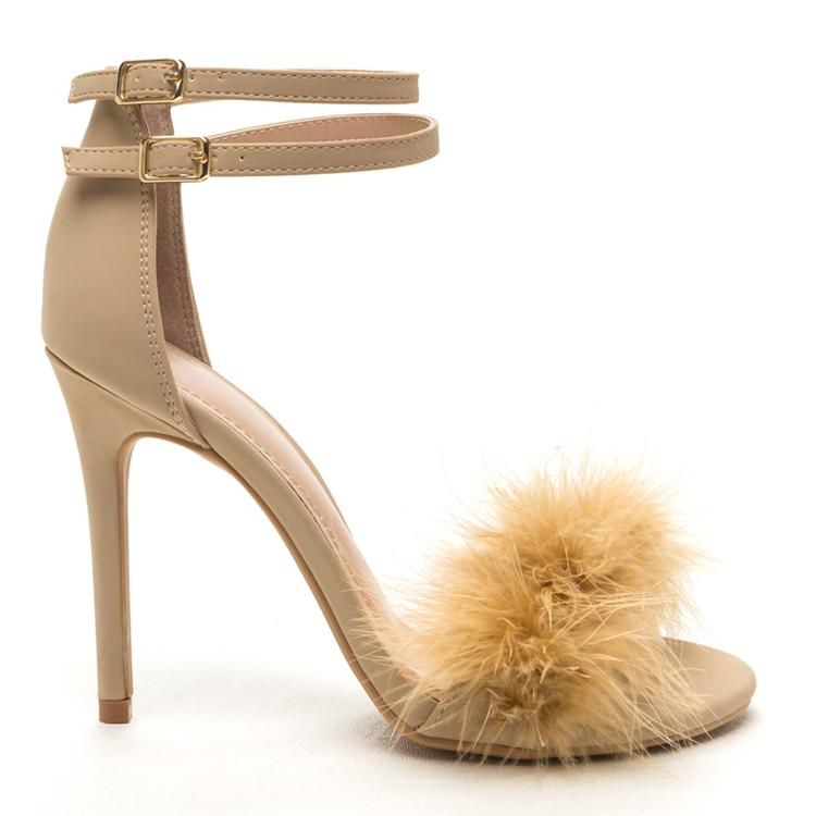 OHH LA LA Fur Open Toe Sandal in Nude at FLYJANE