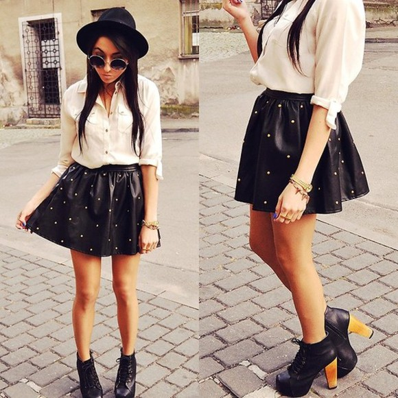 shirt cute chic sunglasses white edgy ineed black skirt hat high heels platforms