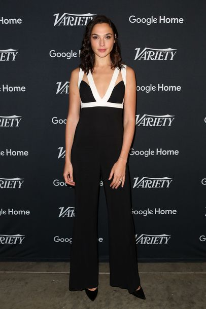 jumpsuit pants gal gadot top black and white