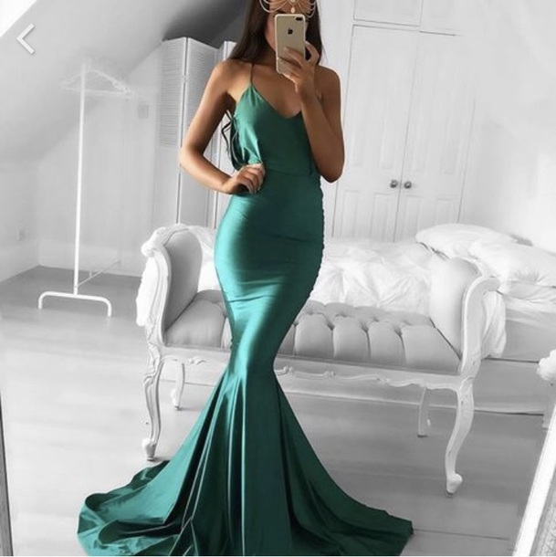 dress, green, prom, mermaid, tight, prom dress, long, emerald green ...
