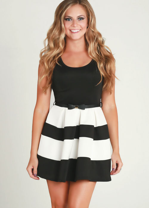 Black Cocktail Dress - Black and white striped dress | UsTrendy