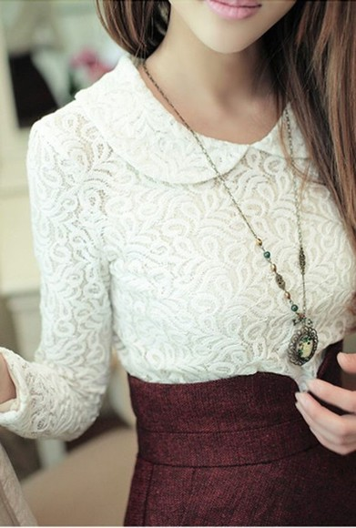 vintage collar blouse lace top classy