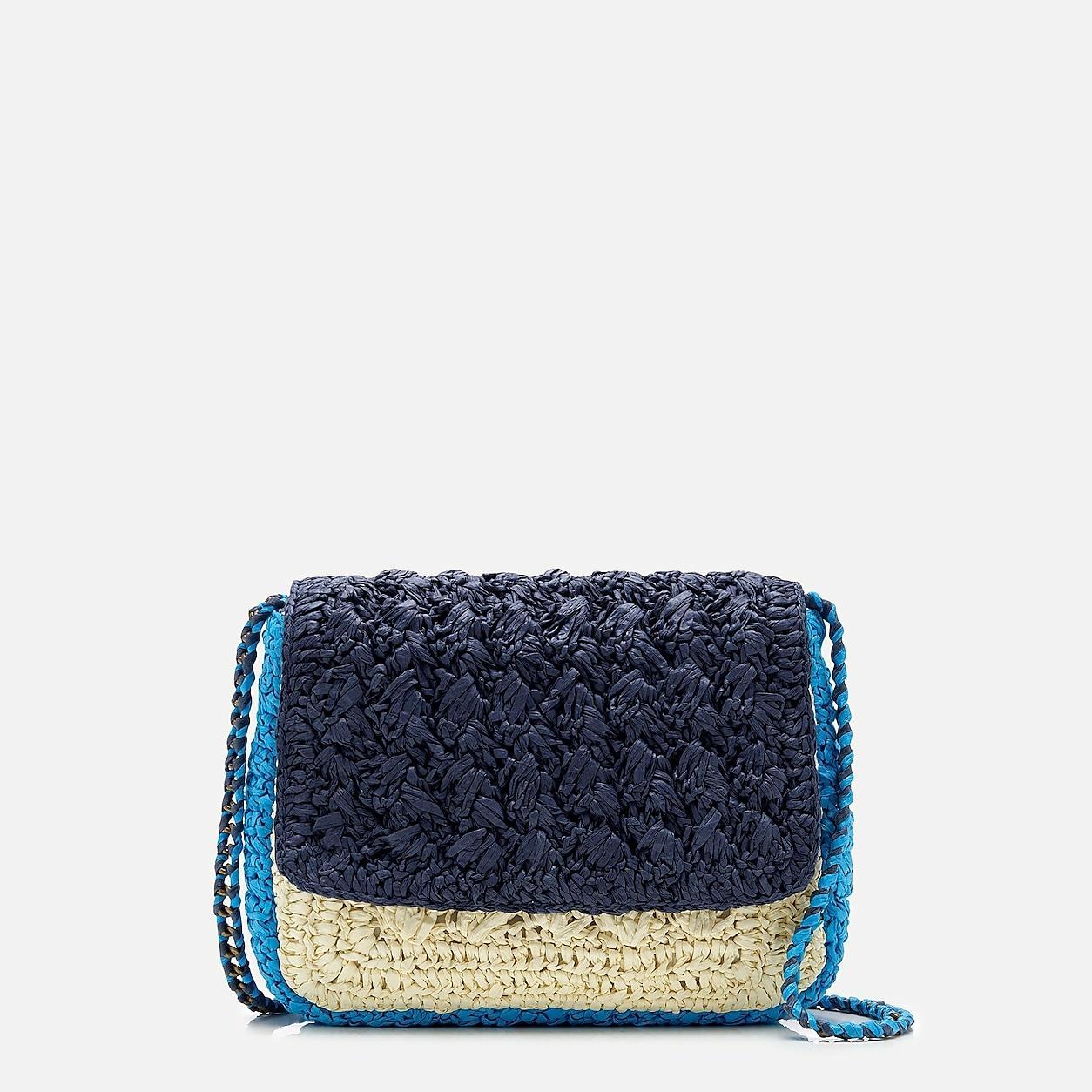 Colorblocked Raffia Crossbody Bag