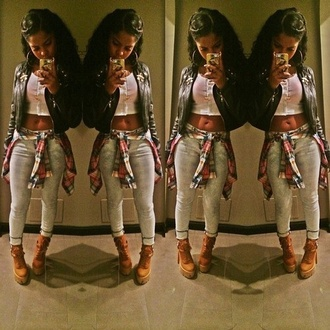 jacket t-shirt blouse jeans leauxsteez flannel timbalands timberland timberland heels cute dope crop top