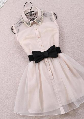 white dress bow waist belt pearl mesh see through see through dress