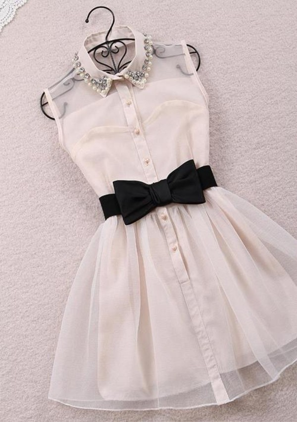collared dress collar vintage dress cocktail dress party dress white dress belted dress bow belt bow bow dress cream dress mini dress sleeveless dress dress