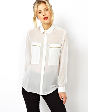 ASOS | ASOS Blouse with Sheer and Solid Panels and Zip Detail at ASOS