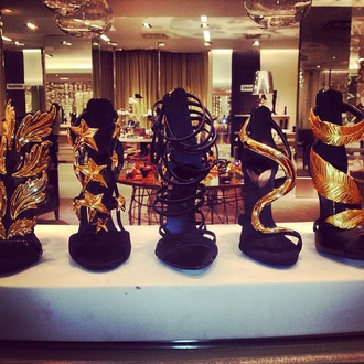 shoes gold and black shoes wing shoes star shoes sexy shoes women giuseppe zanotti guiseppe zanotti