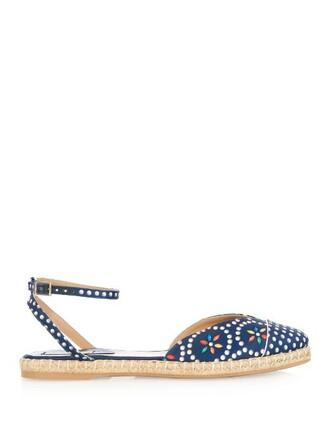espadrilles print silk navy shoes