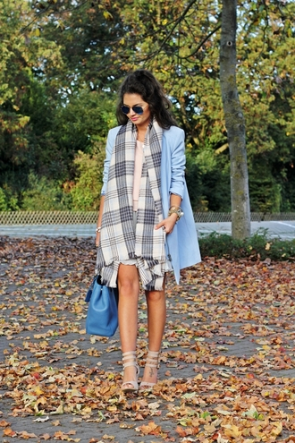fashionhippieloves blogger blouse bag sunglasses scarf tartan jacket