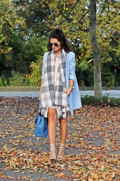blogger scarf tartan jacket sunglasses bag fashionhippieloves blouse