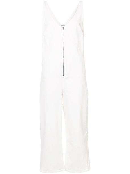 Rachel Comey jumpsuit sleeveless zip women spandex white cotton