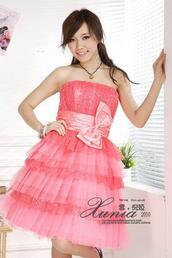 dress,pink,sparkle,bow,ruffle,homecoming,prom