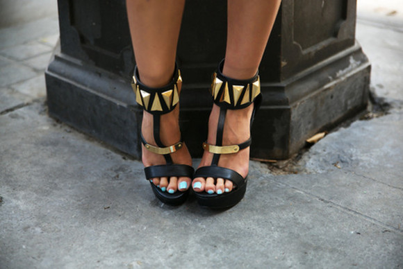 high heels straps wedges studs black  high heels shoes high heels black gold style haute & rebellious black black heels gold high heels gold accessory summer shoes spring trends 2014 heel black heels gold black heels black and gold heels summer heels sandals stud