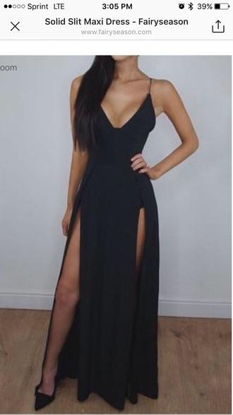 dress slit black maxi dress