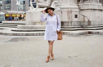 closetconfections blogger jacket dress bag jewels shoes bucket bag ankle boots shirt dress felt hat spring outfits