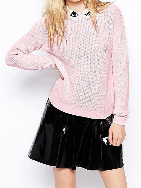 Pink detachable eye & eyelash white lapel pullover sweaters