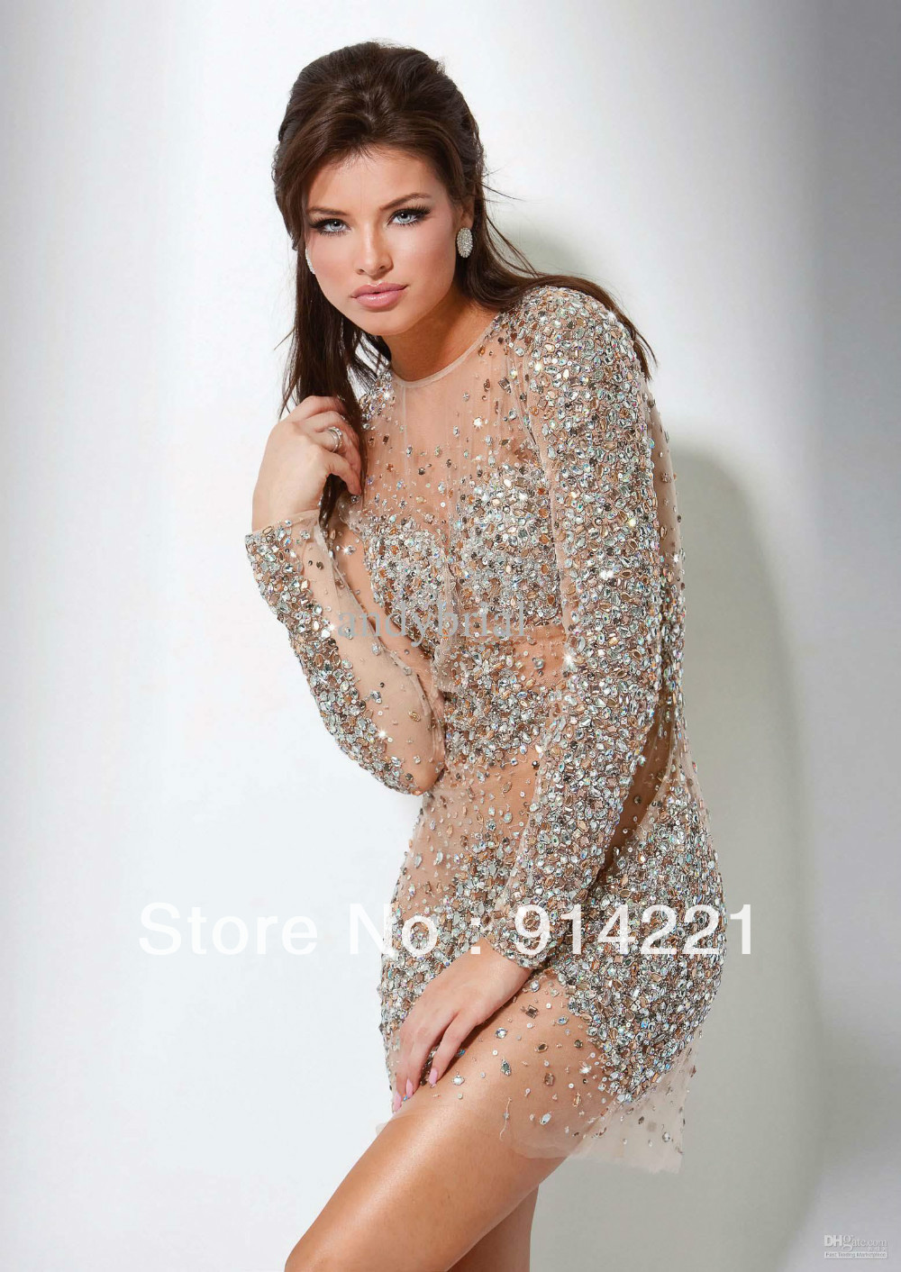 Popular sheath column long sleeve rhinestone mini beads sequined tulle net ivory homecoming dresses