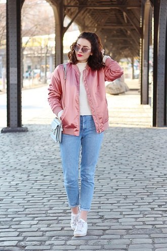 samieze blogger jeans sweater bag pink bomber jacket bomber jacket mom jeans sneakers