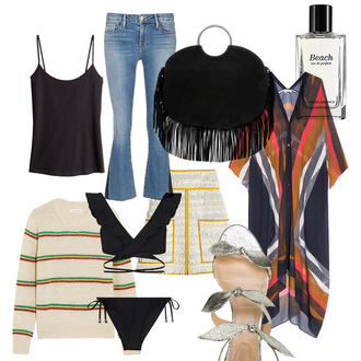 carolines mode blogger tank top top jeans bag sweater swimwear skirt shoes flare jeans black top black bag sandals