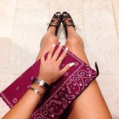 bag,bandana,clutch,shoes,bandana print,bandana bag,burgundy