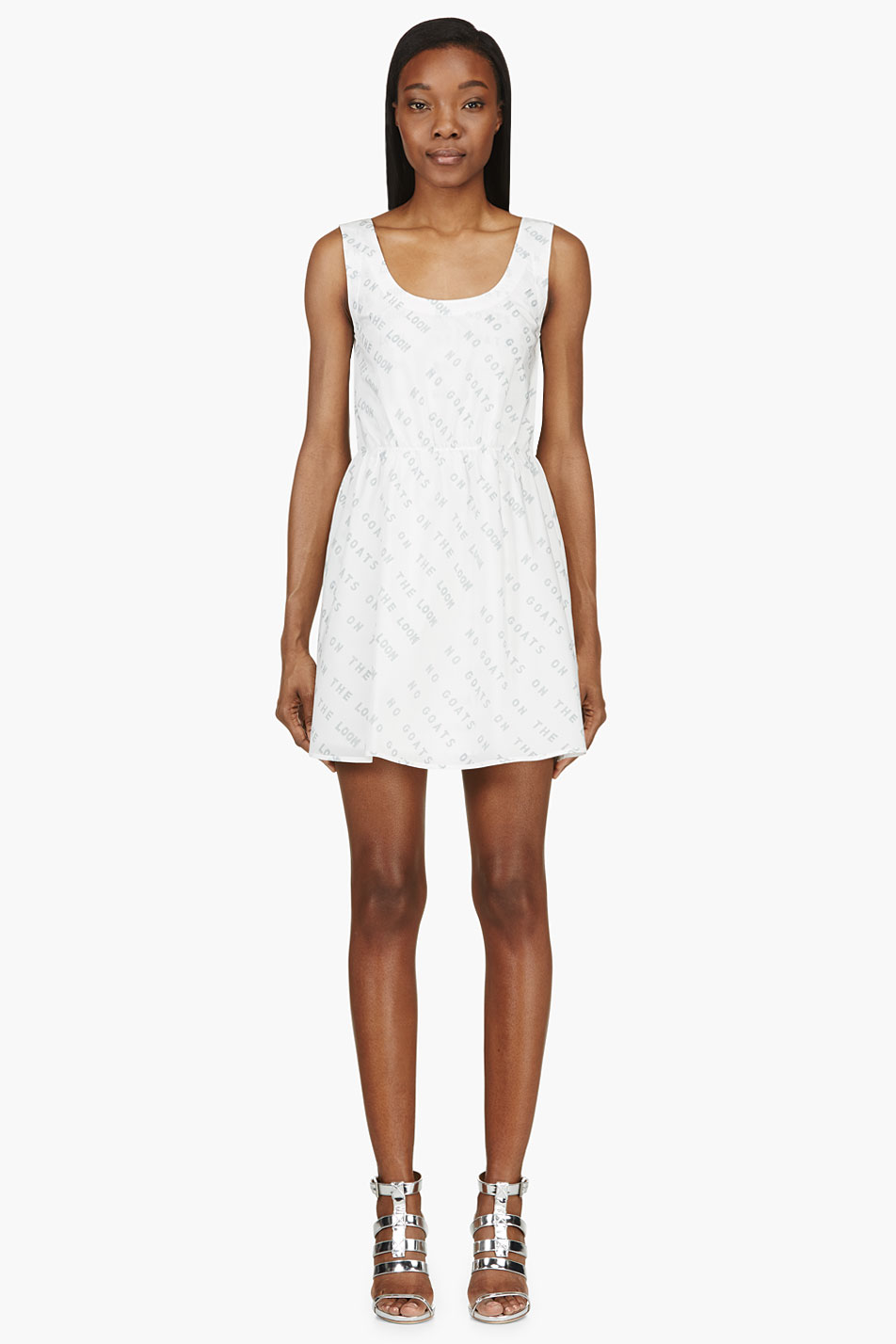 maiyet white text graphic dress
