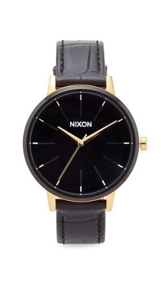 watch leather gold white black jewels