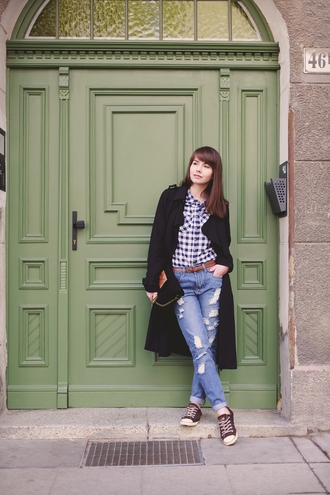 kapuczina blogger gingham converse ripped jeans