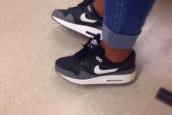 sneakers sneakers high black white nike air max 1 nike air air max grey