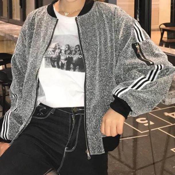 jacket girly glitter zip zip-up zip up jacket
