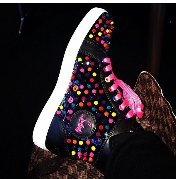 ca4595dcf94e shoes christian louboutin sneakers louboutin high top sneakers colorful  shoestring beaded rainbow