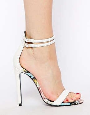 River Island   River Island White Pachy Barely There Heeled Sandals at ASOS