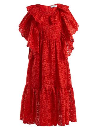 dress ruffle cotton red