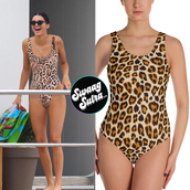 swimwear,kendall and kylie jenner,kendalljener,outfit,celebrity style,celebstyle for less,swimingsuit,one piece swimsuit,instagram,leopard print