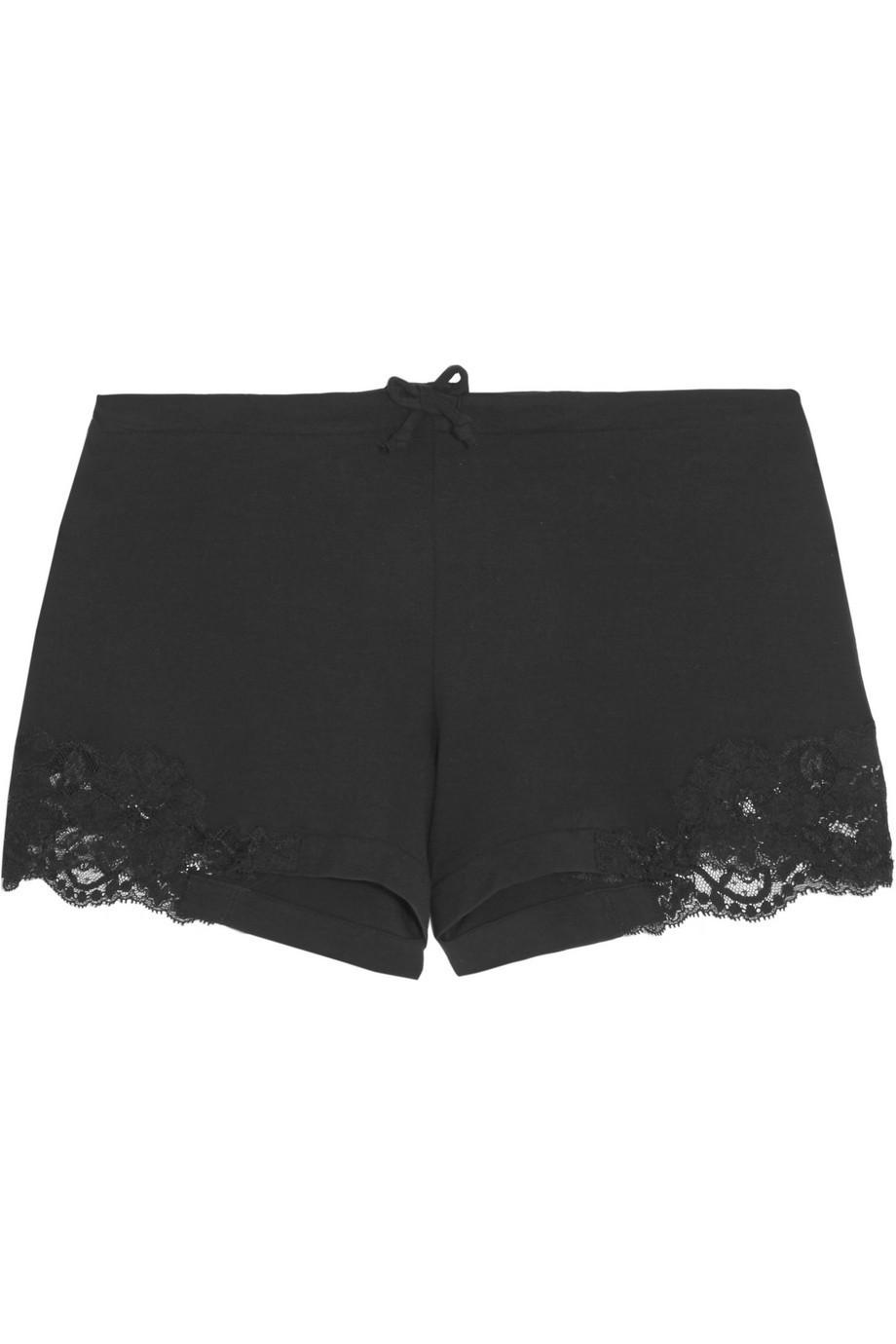 La Perla Souple Lace-Trimmed Stretch-Cotton Jersey Pajama Shorts in black