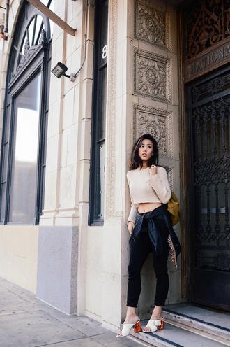 neon blush blogger shoes jacket jeans bag