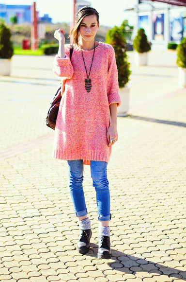 jeans coral beauty insanity blogger knitwear owl