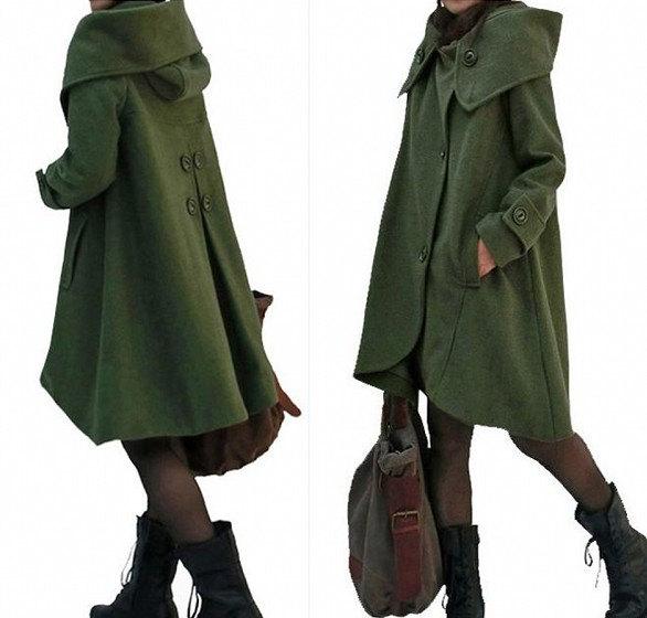 dark green cloak wool coat Hooded Cape women Winter wool coat