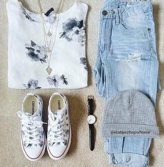 blouse floral gray black cute shirt style