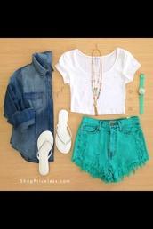 shorts,green shorts,denim shirt,jacket