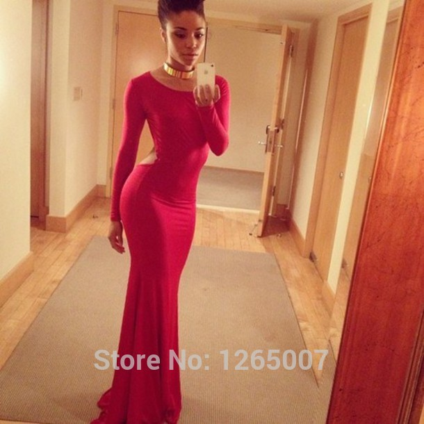 Aliexpress.com : Buy 2014 Scoop Neck Long Sleeves Cut Out Open Back Red Backless Slim Prom Dresses Tight Fashion Sexy Beautiful Maxi Long Gowns from Reliable dress american suppliers on SFBridal