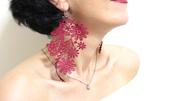 jewels,earrings,statement earrings,lace earrings